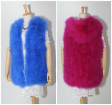 top fashion lady's 100% real soft ostrich fur long hoodie vest waistcoat gilet