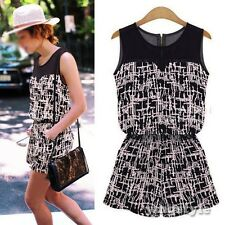 Chic Women Sleeveless Geometric Print Casual Jumpsuit Playsuit Rompers Overalls