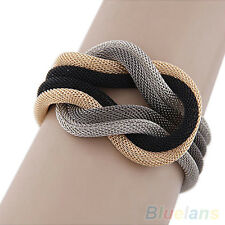 Women Wonderful Concise Knitted Temperament Compilation Wrap Crossover Bracelet