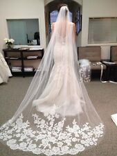 New White Ivory Elegent Cathedral Length Wedding Bridal Veil Comb With Lace Edg