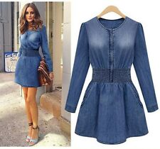 Vogue Fashion Womens Style Fit Denim Jean Trench Long Jacket Outwear Dresses - H
