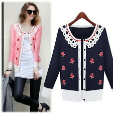 Womens Kniting Cotton Long Sleeve Floral Lace Sweetie Girls Cardigan Coats