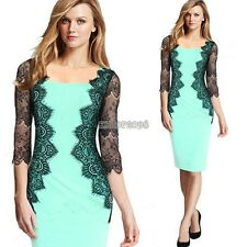 Fashion Women Lace Dress 3/4 Sleeve Pencil OL Floral Business Sexy POP EP98