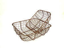 Vintage Copper Wire Metal Basket Rustic Storage Container Trug 2 Sizes Available