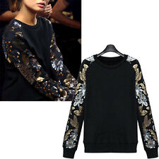 Womens Celeb Thick Jumper Sweater Coat Long Sleeve Sequins Shirt TOPS  Size 4-16
