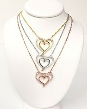 Sterling Silver 925 heart pendant and chain rhodium or 18K gold plated white CZ