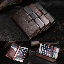 Deluxe Genuine Leather Wallet Flip Stand Case Cover For Apple iPhone 6 6S / Plus