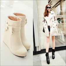 Womens Solid color Fashion sweet bowknot wedge heels platform ankle boots shoes