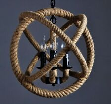 Rope Orb chandelier rustic lighting industrial ceiling fixture sphere pendant