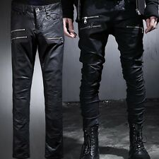 ByTheR Men's Fashion 419 Rubber Coating Zipper Skinny Pants P000BFRB