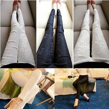 Hot Women Casual Slim Fit Lace Flower Stretchable Skinny Tight Pants Leggings