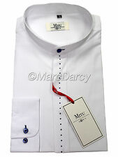 MEN'S DESIGNER SHIRT BLUE DIAMANTE WHITE GRANDAD COLLAR SHIRT
