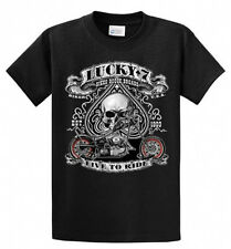 Lucky 7 Men's Biker Printed Tee Shirt in Regular and Big and Tall Sizes