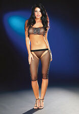 BLACK FISHNET MESH CUT OUT CAPRI LEGGINGS TIGHTS & CROP VEST TOP FOOTLESS S M L