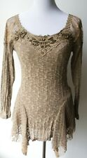 Pretty Angel Vintage Boho Chic Textured Ecru top-wooden beads & lace--UNIQUE!