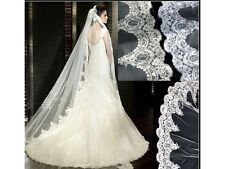 White/Ivory 1Tier/ 2 Tier Cathedral Custom Length Lace Edge Bridal Wedding Veil