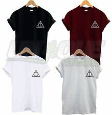DEATHLY HALLOWS TRIANGLE BREAST LOGO T SHIRT TEE TOP HARRY POTTER WIZARD MAGIC