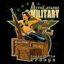 U S Military T Shirt Support the Troops Sexy America Army Girl Small to 6XL Tall