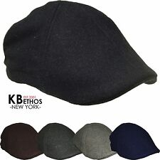 Solid Wool Gatsby Cap Mens Ivy Hat Golf Driving Winter Cold Flat Cabbie Newsboy