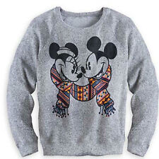 Disney Mickey Mouse and Minnie Gray pullover sweater knitted style christmas