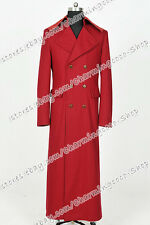 We Make Doctor For Who Cosplay Costume Dark Red Long Wool Trench Coat Well Made