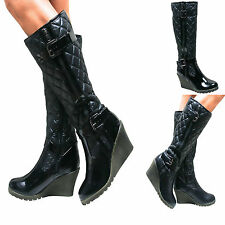 LADIES KNEE HIGH WEDGE HEEL PADDED QUILTED BUCKLE BIKER RIDING BOOTS WINTER SIZE
