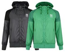 Crosshatch Men's Lightweight Hooded Polyester Jacket Green & Dark Grey