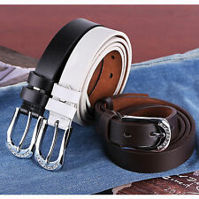 Ladies Womens Real Genuine Leather Belts Brown Black White S - XL Silver Buckle