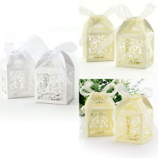 White Beige Floral BirdCage Party Wedding Favour Box with Ribbon Favor Boxes