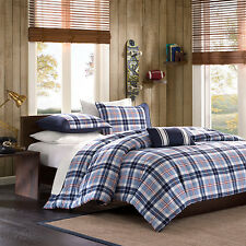 Modern Chic 4-PC Blue Plaid Teen Boy/Girl Adult Comforter Set Twin or Full/Queen