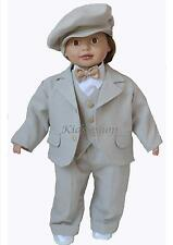 Baby Boy Outfit Smart Suit Bow Hat Waistcoat  Formal Party Wedding Christening