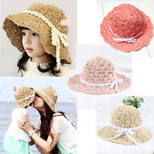 Mother and Daughter Wide Brim Sun Beach Braided Straw Hat Parent-Child Cap H129
