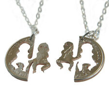 BFF NECKLACE SET INTERLOCKING COUPLES JEWELRY HAND CUT COIN PSY GANGNAM STYLE