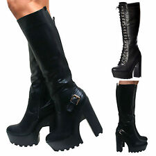 LADIES BLOCK HEEL CHUNKY CLEATED SOLE LACE UP GOTH PUNK KNEE HIGH BIKER BOOTS