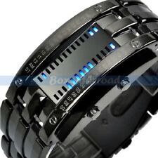 Fashion Men's Women Black Stainless Steel Date Digital LED Bracelet Sport Watch
