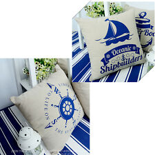 New Soft Square Nautical Throw Pillow Cushion Case Cover Home Office Room Decor