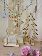 Vintage Chic Christmas Wooden Ornament Rustic Tree Reindeer Deer Xmas Decoration