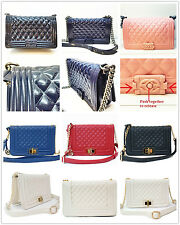 FASHIONABLE WOMENS DIAMOND CHECKED QUILTED SHOULDER BAG CHAINED SHOULDER STRAP