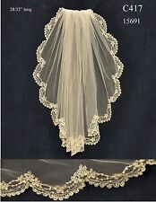 White Ivory Silver Embroidery Beaded Lace Edge Bridal Fingertip Veil