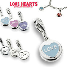 LOVE HEARTS JEWELRY COLLECTION STERLING SILVER OR  ENAMEL MINI CHARM WITH CLASP