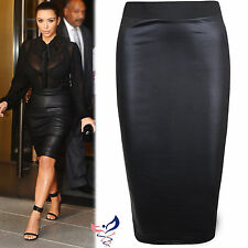 WOMENS WET LOOK FAUX LEATHER PENCIL WIGGLE BODYCON HIGH WAISTED PLUS MIDI SKIRT