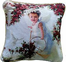 Tache's Floral Valentines Cupid's Horn 18 x 18 Inch Throw Pillow Cushion Cover