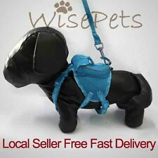 Adjustable Pet Dog Soft Mesh Harness Backpack With Matching Leash Lead Blue