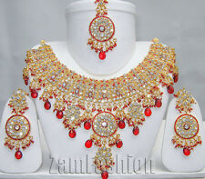 Bollywood Jewellery Indian Kundan CZ Partywear Gold Tone Necklace Set #3