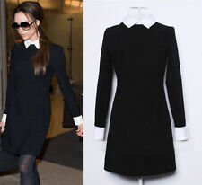 Fashion Victoria Beckham Style Black Dress Longsleeve Peter Pan Collar Dress