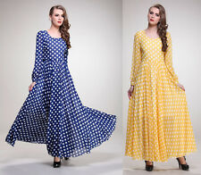 NewFashion Sweety Polka Dot Chinffon Long Sleeve Gown Dress Princess Maxi Dress