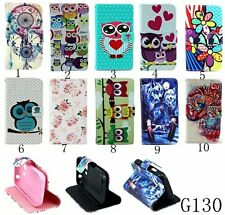 Flower wallet Leather stand cover case for Samsung Galaxy Young 2 SM-G130 #1