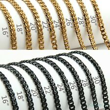 "Men's 6.5MM 16""-30"" Black Gold 316L Stainless Steel Curb Pendant Necklace Chain"