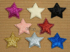 U PICK - 40 mm Glitter Star Appliques X'mas Flag Toppers Party x 20 Mix #3411