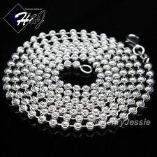 "18""20""24""30""MEN WOMEN 925 STERLING SILVER 3MM MOON CUT BEADED CHAIN NECKLACE*SN1"